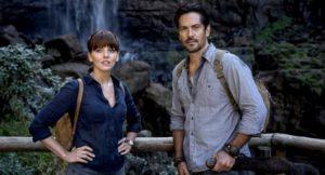 Episode 07 Scene 43 pt2: Waterfall Valley (Viewing platform); Shot of Hooten (MICHAEL LANDES), Alex (OPHELIA LOVIBOND) & Jian (JAY HEYMAN) looking at the waterfall.